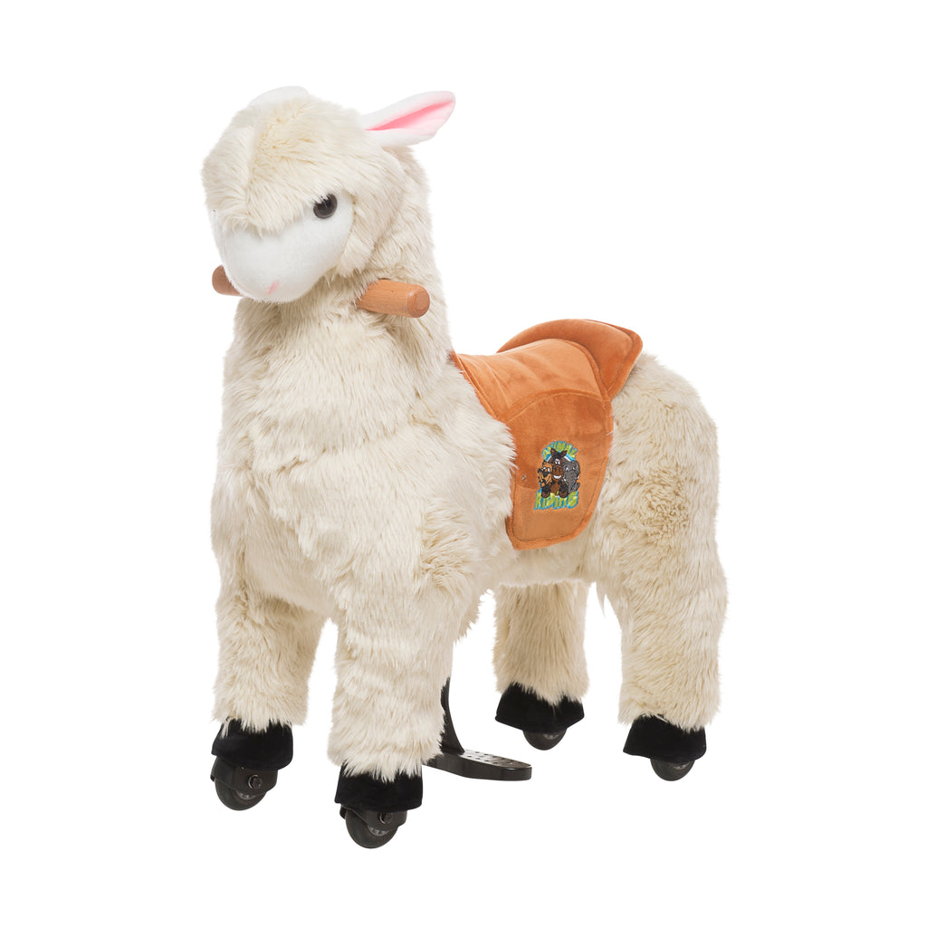 This plush cream ride on Alpaca is the perfect present for small children who love action.  Just push down on the footrest bars and watch this ride on alpaca go. Such fun!   Each animal has a soft plush body and an amazing driving system that enables children to steer with the handles and move the animal along on plastic wheels.