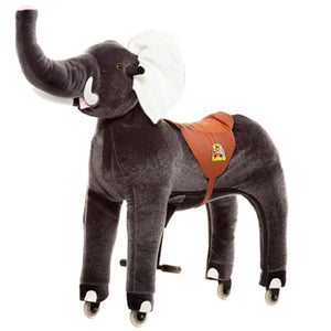 Ride On Elephant - Turn heads in the park with this exotic ride! This plush grey ride on elephant is the perfect present for anyone who loves a sense of adventure.  Just push down on the foot rest bars and watch this ride on zebra go. Each animal has a soft plush body and an amazing driving system that enables children to steer with the handles and move the animal along on hard wearing plastic wheels. These ride on toys are so much fun to ride and great exercise at the same
