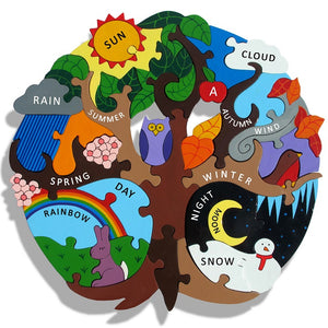 Four Seasons Jigsaw - Great introduction to science and nature! This beautifully handcrafted four seasons chunky jigsaw depicts the life cycle of a tree. Showing the changes of the four seasons, different weathers are highlighted too.