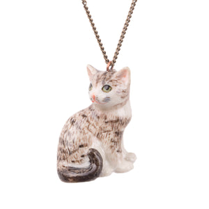 Hand-painted porcelain tabby cat necklace - a beautiful gift for cat lovers. A beautifully hand-painted tabby cat with intricate detail on the face with green eyes, pink nose, and whiskers. Adorable!  This cat is featured on an antique brass plated chain.  These hand-painted porcelain necklaces have amazing detailed features that make the tabby cat necklace look adorable.  A real keepsake you'll treasure for years to come. Designed and hand-finished in Scotland.