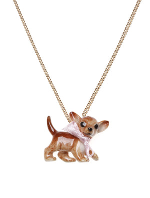 Chihuahua necklace is charming and cute This chihuahua necklace, made from hand painted porcelain, is decorated with a baby pink bow. These hand painted necklaces have amazing detailed features that make the chihuahua look adorable. A real keepsake. Dog on white background