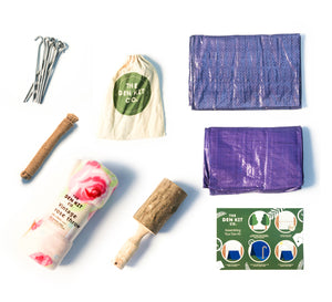 Cottage Garden Den Kit contents shows tent pegs, ground sheet, handmade hammer, rope, blanket an instruction sheet. Everything you need to start your adventure.