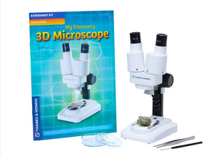 3D Microscope shown with instruction leaflet - Microscoping with this high quality stereo microscope is a real eye opener! This binocular style 3D microscope from Thames and Kosmos is so easy to use for children and adults as you're not trying to cover or shut one eye to get a clear focus on what your viewing through the lens. There's an amazing micro world to explore. Included in the package is 2 x 5mm lens and 2 x 10mm lens.