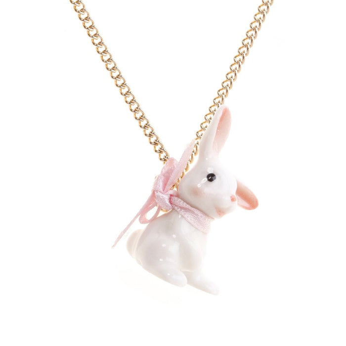 Baby White Bunny Necklace - Hand Painted Porcelain
