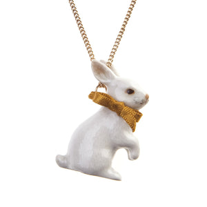 White Rabbit Necklace with Gold Bow - Porcelain