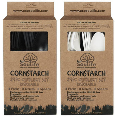 EcoSouLife 24 PC Cutlery Sets Cornstarch Material