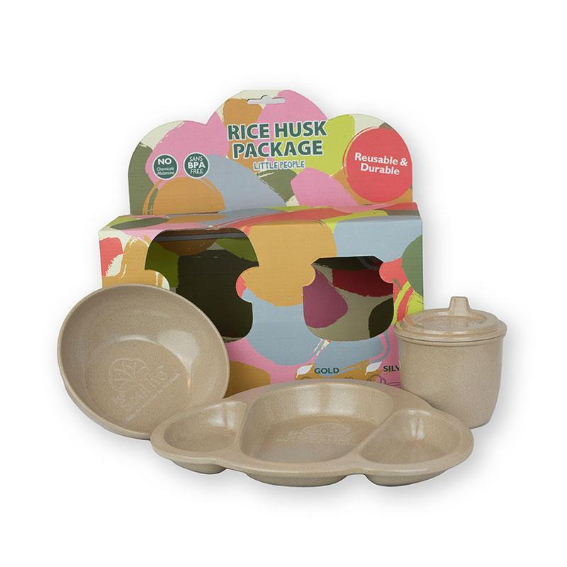 EcoSouLife Baby 3 PC Set Natural Rice Husk Material