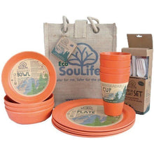 Load image into Gallery viewer, EcoSouLife Orange Biodegradable 37 PC Picnic Set All Natural Material