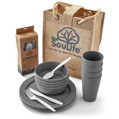EcoSouLife Grey Biodegradable 37 PC Picnic Set All Natural Material
