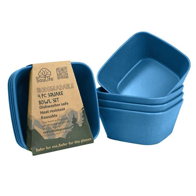 Bamboo Bowl Square (4PC) Navy - EcoSouLife