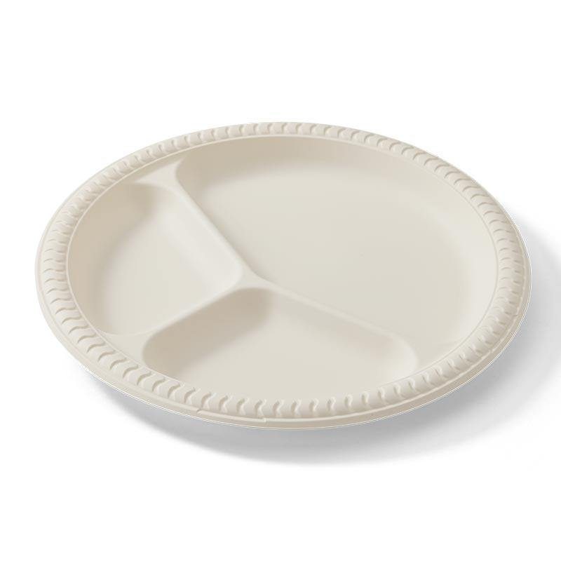 EcoSouLife Divided Plate White Cornstarch Material