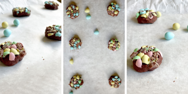Trove Desserts double chocolate mini egg cookies on a cookie sheet unbaked