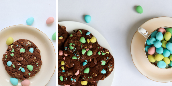 Trove Desserts Double Chocolate Mini Egg Cookies for Easter on a plate and a teacup full of Cadbury Mini Eggs