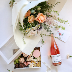 Trove Desserts Mother's Day Bundle including Vancouver's Trove dessert box, Fort Langley's Floralista bouquet, New Westminster's greeting card, and Okanagan's Haywire Sparkling Rose