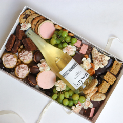 Trove Desserts Large Mother's Day  assorted grazing dessert box with a bottle of Okanagan Crushpad's Haywire The Bub Sparkling Wine