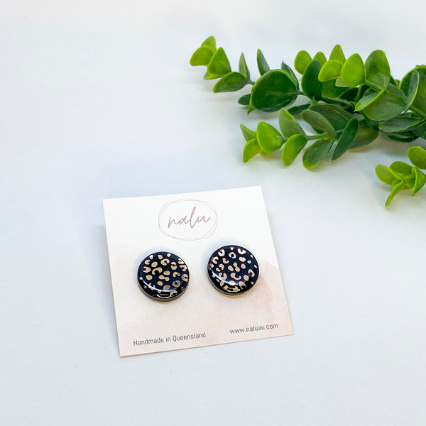 Midi LUCY Studs - Black and Gold Leopard