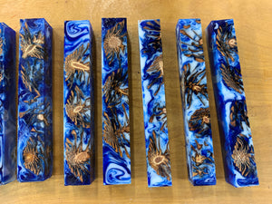 Mini Pinecone Blue/White Swirl Pen Blank