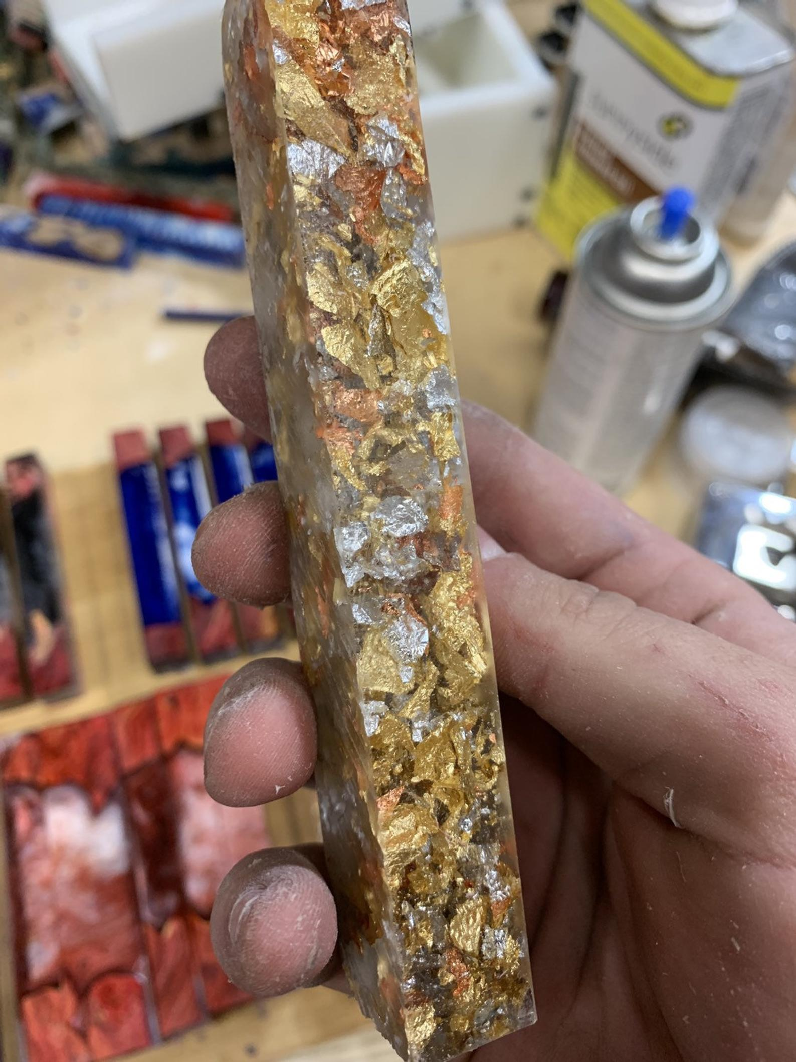 Gold Leaf, Silver Leaf, and Copper Leaf Alumilite Pen Blanks
