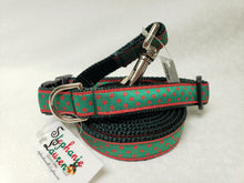 Load image into Gallery viewer, Green Dot Dog Leash/Collar Set-Small