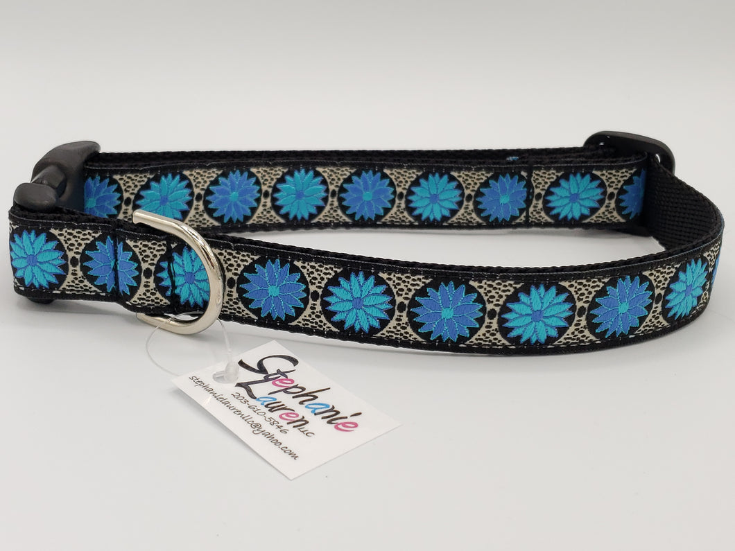 Blue Zinnias Dog Collar-Large