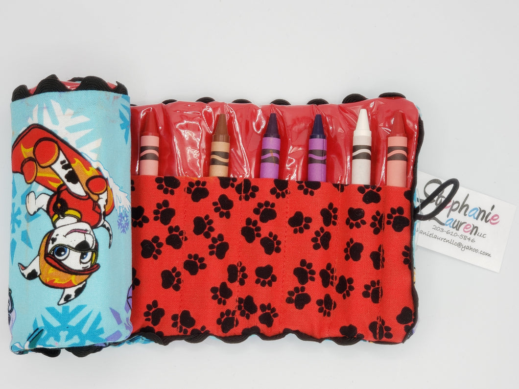 Puppy Sledding Crayon Roll