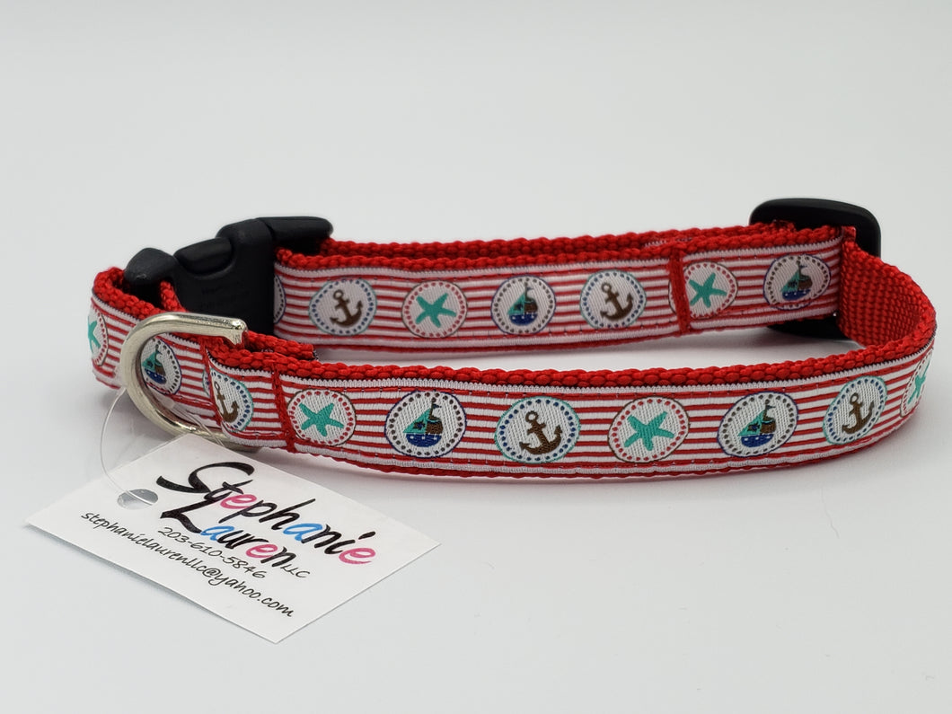 Red Nautical Dog Collar-Small