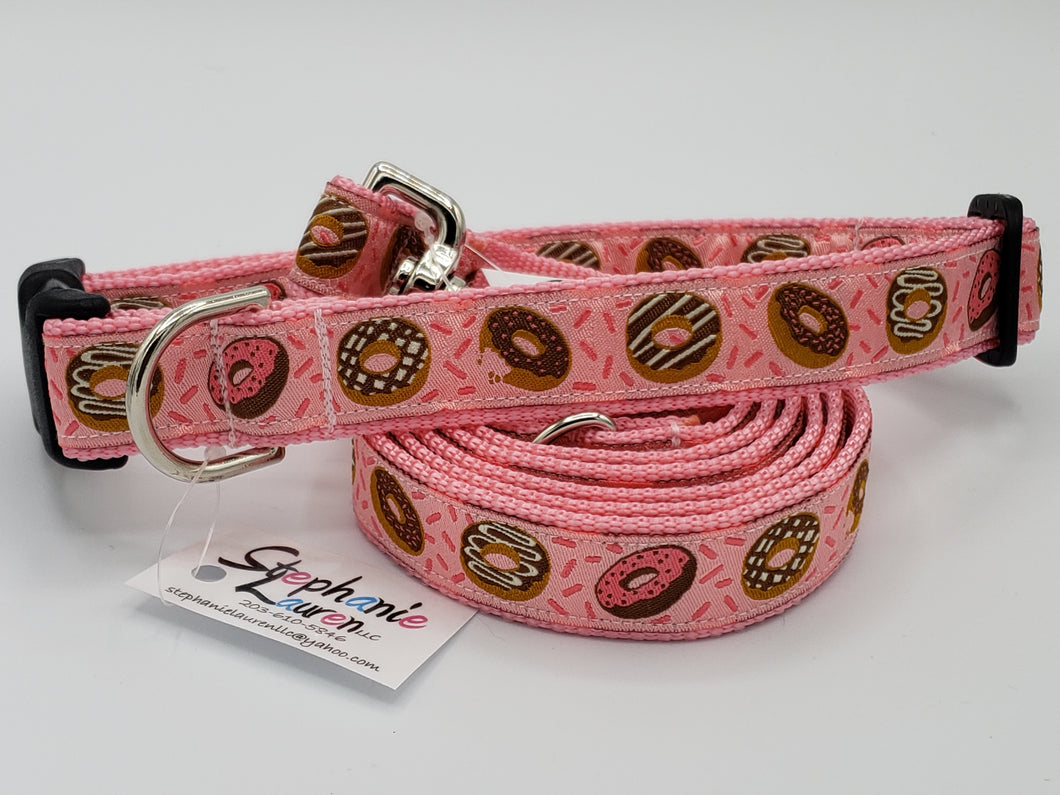 Pink Donut Dog Leash/Collar Set-Large