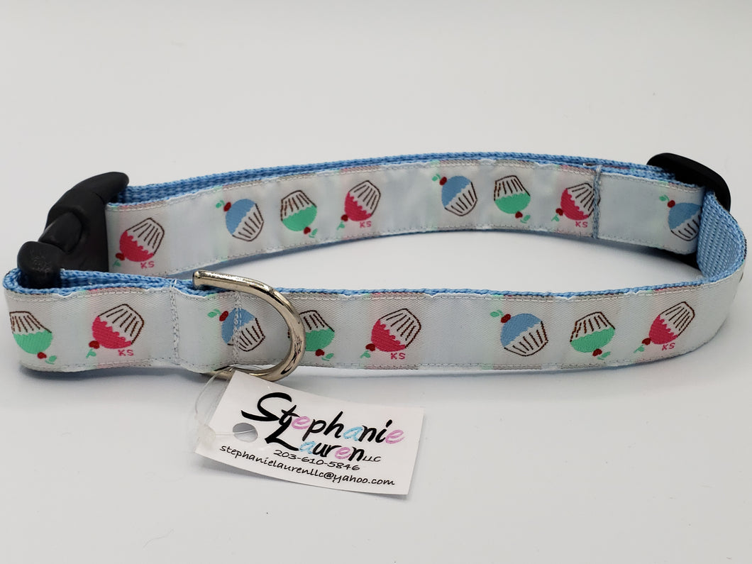 Blue Cupcake Dog Collar-Large