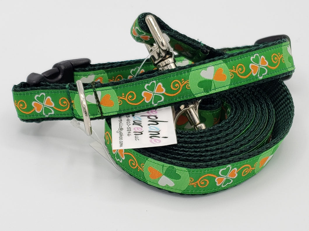Shamrock/Green Dog Leash/Collar Set-Small