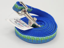Load image into Gallery viewer, Blue Palm Tree Dog Leash/Collar Set-Small