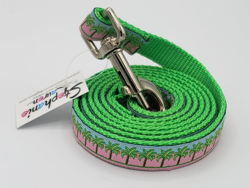 Pink Palm Tree Dog Leash-Small