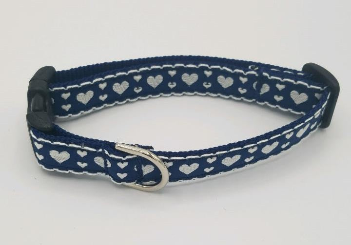 Navy Heart Dog Collar-Small