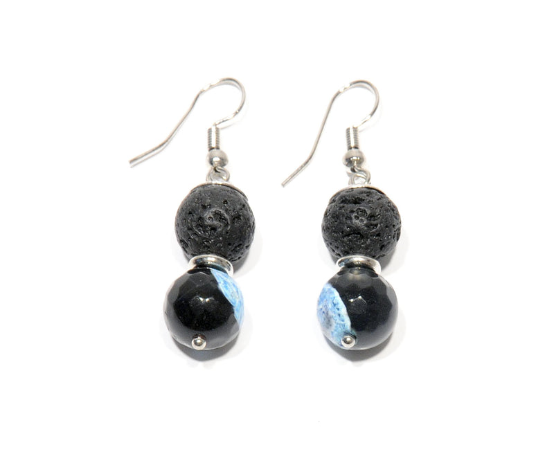 "Earrings Lava and volcanic Agate ""Blue Fire"" - Magma Canario - Volcanic Jewelry Shop"