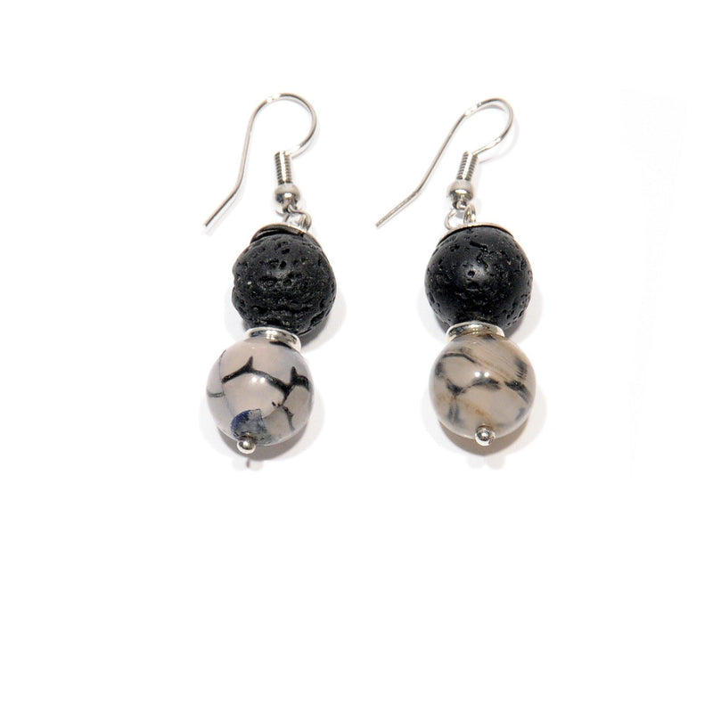 "Earrings Lava with ""Black Dragon"" Lavic Agate - Magma Canario - Volcanic Jewelry Shop"
