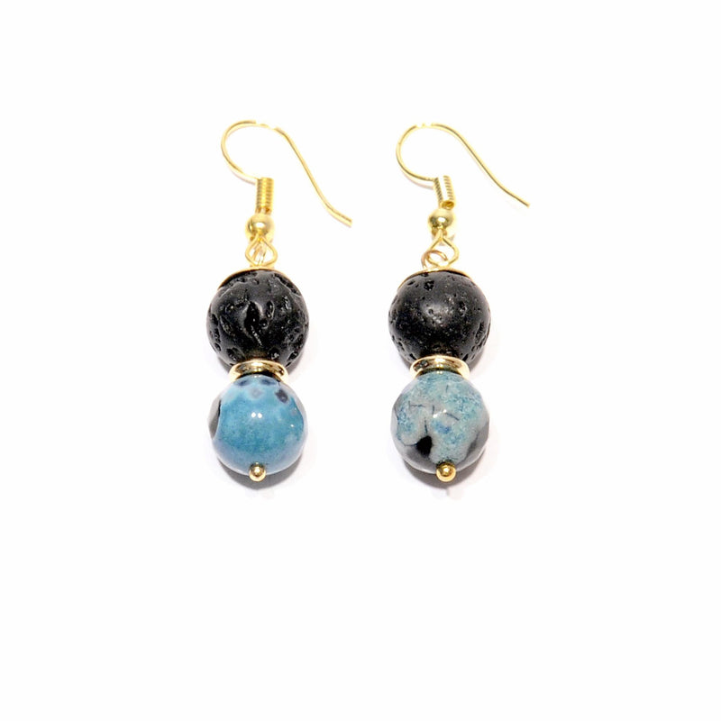 "Lava earrings and volcanic Agate ""blue fire"" - Magma Canario - Volcanic Jewelry Shop"