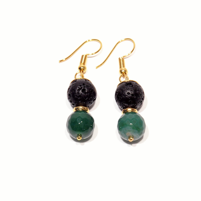 Earrings with Lava and Green Agate - Magma Canario - Volcanic Jewelry Shop