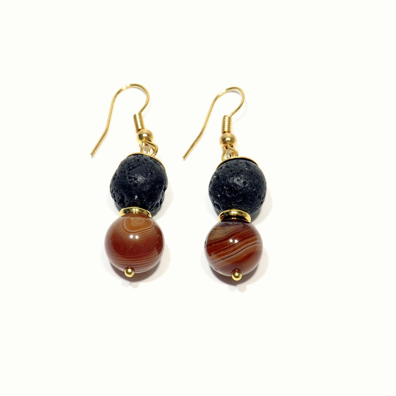 "Earrings Lava and Lava Agate ""Sun"" - Magma Canario - Volcanic Jewelry Shop"