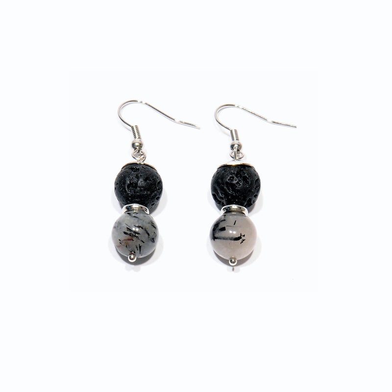 "Earrings Lava and volcanic Quartz ""Rutile"" - Magma Canario - Volcanic Jewelry Shop"