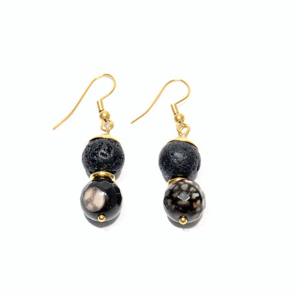 "Earrings Lava and Lavic ""Leopard"" Agate - Magma Canario - Volcanic Jewelry Shop"