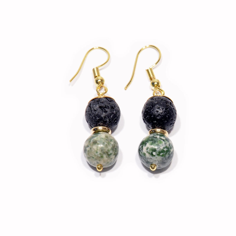 Earrings Lava and green Jasper - Magma Canario - Volcanic Jewelry Shop