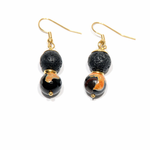 "Earrings Lava and Lavic Agate ""Fire black yellow"" - Magma Canario - Volcanic Jewelry Shop"