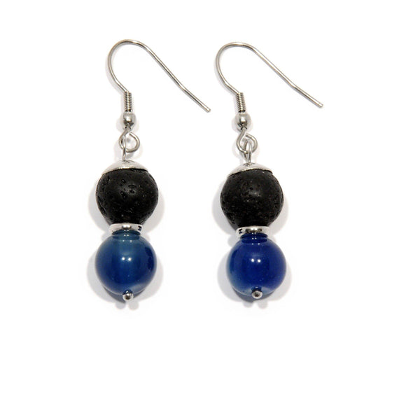 Earrings Lava and imperial blue Agate - Magma Canario - Volcanic Jewelry Shop