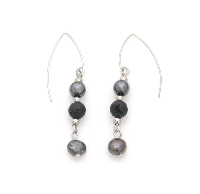 Earrings with Lava, Hematite and river pearls - Magma Canario - Volcanic Jewelry Shop