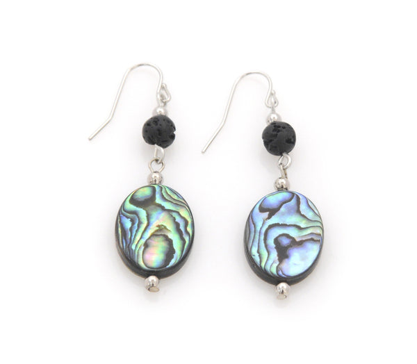 Earrings with Lava and Abalone - Magma Canario - Volcanic Jewelry Shop
