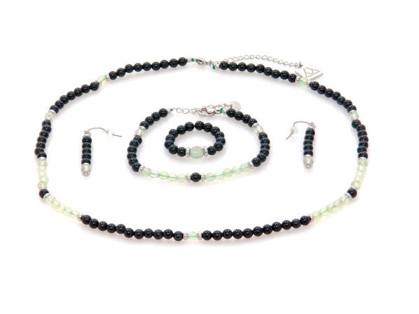 Set with Obsidian and double Green Quartz - Magma Canario - Volcanic Jewelry Shop