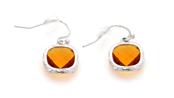 Earrings with Yellow Crystal and stainless steel - Magma Canario - Volcanic Jewelry Shop