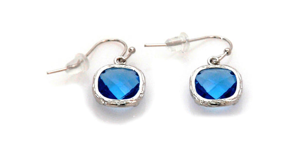Earrings with Blue Crystal and stainless steel - Magma Canario - Volcanic Jewelry Shop