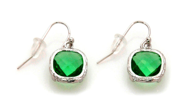 Earrings with Green Crystal and stainless steel - Magma Canario - Volcanic Jewelry Shop