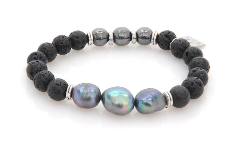 Bracelet with Lava, Hematite and river pearl - Magma Canario - Volcanic Jewelry Shop