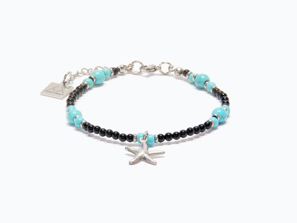 Anklet with Lava, Obsidian, Turquoise and Star in 316L steel - Magma Canario - Volcanic Jewelry Shop